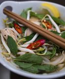 Beautiful and appetizing photo of a traditional vietnamese chicken noodle soup, also know as Pho Ga. In a white bowl with wooden b. Ackground and luxurious stock images
