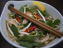 Beautiful and appetizing photo of a traditional vietnamese chicken noodle soup, also know as Pho Ga. In a white bowl with wooden b. Ackground and luxurious stock photo