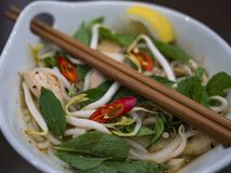 Beautiful and appetizing photo of a traditional vietnamese chicken noodle soup, also know as Pho Ga. In a white bowl with wooden b. Ackground and luxurious stock photography