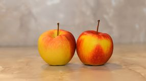 Beautiful apple. Beautiful red and yellow apples on a beautiful background Stock Photography