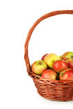 Beautiful apples in basket on white background Royalty Free Stock Photography