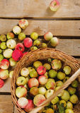 Beautiful apples in basket Stock Photo