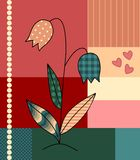 Beautiful application of flower on patchwork background. Stock Image