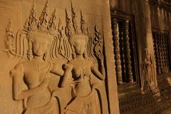 Beautiful Apsara carving Royalty Free Stock Photography
