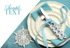 Beautiful aqua blue festive Christmas dining table place setting Royalty Free Stock Photos