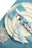 Beautiful aqua blue festive Christmas dining table place setting - vertical Stock Photo
