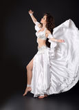 Beautiful Arabian bellydancer sexy woman in bellydance white cos Stock Image