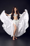 Beautiful Arabian bellydancer sexy woman in bellydance white cos Royalty Free Stock Photos