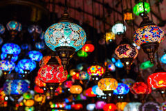 Beautiful Arabian lamps at a bazaar Stock Photos