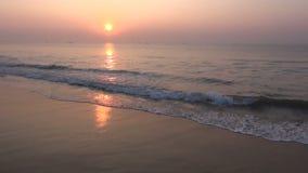 Beautiful Arabian sea sunrise in south India beach stock video