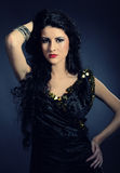 Beautiful arabic woman with long black hair Royalty Free Stock Images