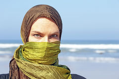 Beautiful arabic woman at the ocean Royalty Free Stock Photo