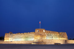 Beautiful Arad fort in Blue hours. Arad Fort is a 15th century fort in Arad, Bahrain Stock Photos