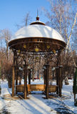 Beautiful arbor in winter park Royalty Free Stock Photo