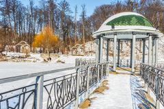 Beautiful arbor in winter park. This picture was taken in  Kiev Royalty Free Stock Image