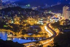 Beautiful Arch Bridge at Taipei. Night Royalty Free Stock Photo