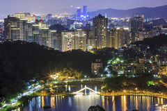 Beautiful Arch Bridge at Taipei. Night Royalty Free Stock Photography
