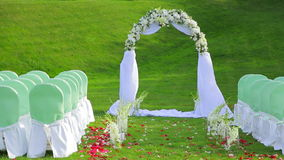 Beautiful Arch And Chairs for the Wedding Ceremony stock video