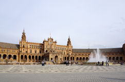 Beautiful architechture of Plaza de España building with water. Seville, Spain - 7 December,2015 :Beautiful architechture of Plaza de España building Royalty Free Stock Images