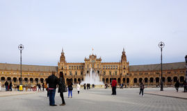 Beautiful architechture of Plaza de España building with water. Seville, Spain - 7 December,2015 :Beautiful architechture of Plaza de España building Royalty Free Stock Photo