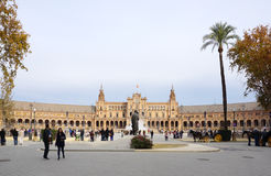 Beautiful architechture of Plaza de España building with water Royalty Free Stock Photo