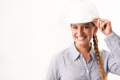 Beautiful architect girl. Holding her helmet Royalty Free Stock Image
