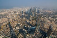 Beautiful architectural background. Panoramic view of Dubai`s business bay.  Royalty Free Stock Images