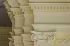 Beautiful architectural detail of vintage Greek-Roman styles col. Umns pattern stock photos