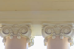 Beautiful architectural detail of vintage Greek-Roman styles col. Umns pattern royalty free stock photography