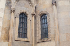 Beautiful architectural molding on the narrow windows Stock Image