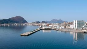 Beautiful architecture of Alesund town at sunny day in Norway stock video footage