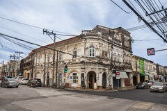 The beautiful architecture along the roads in Phuket old town Royalty Free Stock Images