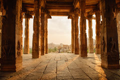 Beautiful architecture of ancient ruines of temple in Hampi Royalty Free Stock Photo