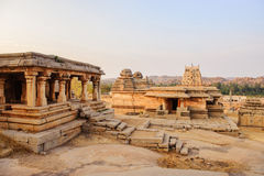 Beautiful architecture of ancient ruins of temple in Hampi stock photos