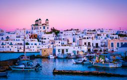 Evening scenery of greek island Paros. Beautiful architecture and berth view of evening greek island Paros royalty free stock image