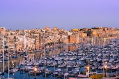 Beautiful architecture and boats in harbour,Three Cities,Malta.  Royalty Free Stock Photography