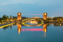Free Beautiful Architecture Building And Colorful Bridge In Twilight Stock Photo - 78379300