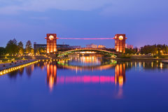 Free Beautiful Architecture Building And Colorful Bridge In Twilight Royalty Free Stock Image - 78379386