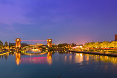 Free Beautiful Architecture Building And Colorful Bridge In Twilight Royalty Free Stock Photos - 78379408