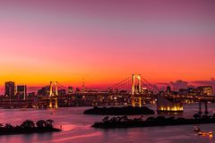 Beautiful architecture building cityscape of tokyo city with rainbow bridge. At twilight sunset time in japan royalty free stock photos