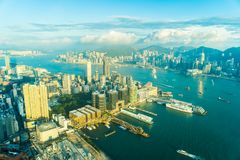 Beautiful architecture building exterior cityscape of hong kong royalty free stock photography