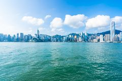 Beautiful architecture building exterior cityscape of hong kong stock photos