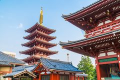 Beautiful architecture building sensoji temple is the famous place for visit in asakusa area stock photo