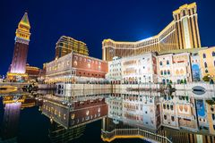 Beautiful architecture building of venetian and other hotel resort and casino stock image