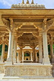 Jaipur Royal Gaitor Cenotaph. The beautiful architecture and carvings at Jaipur Royal Gaitor Cenotaphs.Rajasthan.The cenotaph of Maharaja Sawai Jai Singh II stock photography