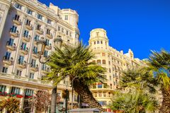 Beautiful architecture of the central square of Ayuntamiento in Valencia.  royalty free stock photos