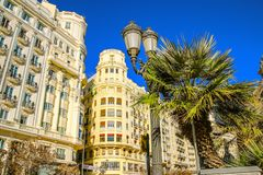 Beautiful architecture of the central square of Ayuntamiento in Valencia.  royalty free stock photo