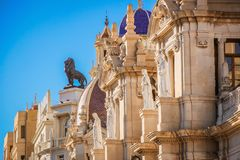 Beautiful architecture of the central square of Ayuntamiento in Valencia.  royalty free stock images