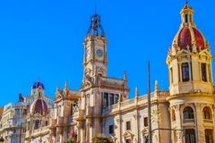 Beautiful architecture of the central square of Ayuntamiento in Valencia.  royalty free stock photography
