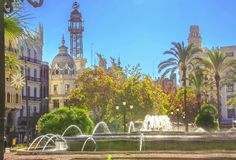 Beautiful architecture of the central square of Ayuntamiento in Valencia.  stock photo
